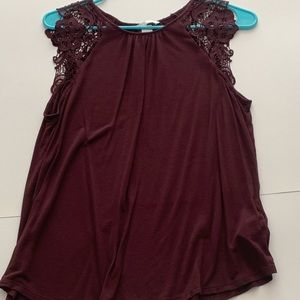 Burgundy Lace Sleeve Shell Top
